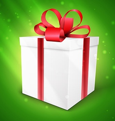 gift box with bow isolated on green vector image