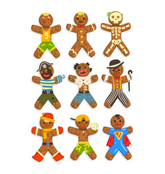 Gingerbread men wearing different costumes set vector