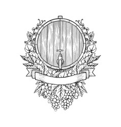 Graphic wine barrel decorated with bunches vector