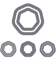 Grey line heptagon logo design set vector