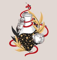 Hand drawn magic bottle vector