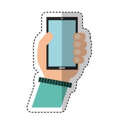hand human with smartphone icon vector image