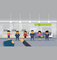 Hand pointing finger on businessman over group of vector