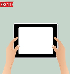 Hands holding tablet - - EPS10 vector image