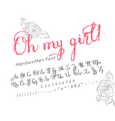 handwritten alphabet stylish lettering font vector image