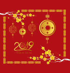 happy chinese new year 2019 card gold coin year vector image