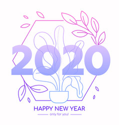 happy new year 2020 celebration lineart banner vector image