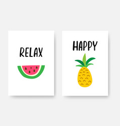 happy summer poster a4 set with hand drawn vector image