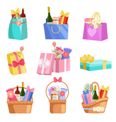 holiday presents set paper shopping bags baskets vector image