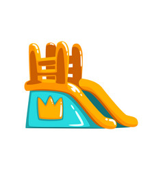 Inflatable slide side view amusement park bouncy vector