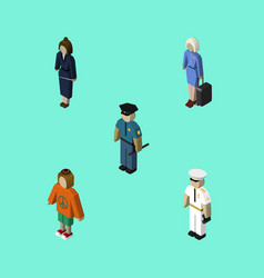 isometric person set of officer seaman vector image