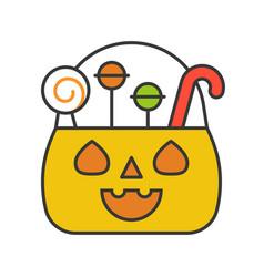 jack o lantern bucket halloween related filled vector image