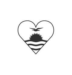 kiribati flag icon in a heart shape in black vector image