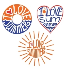 Lifebuoyheartsun in words I love summer vector image