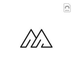 M logo monogram business icon element isolated vector