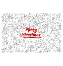 Merry Christmas doodle set with lettering vector image