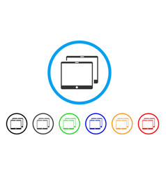 Mobile tabs rounded icon vector