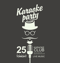 Music banner for karaoke party with hipster vector