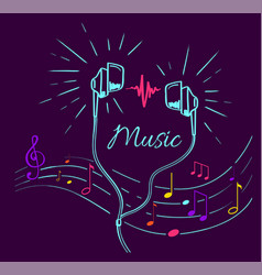 music poster treble clef notes set and headphones vector image