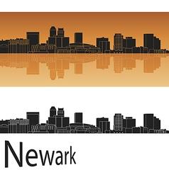 newark skyline in orange background vector image
