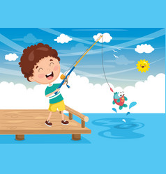 of kid fishing vector image