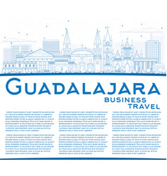 Outline guadalajara skyline with blue buildings vector