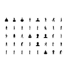 People doing work black color set solid style vector