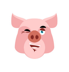pig winking emoji piggy merry emotion on white vector image