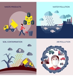 Pollution icons flat set vector