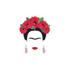 Portrait woman minimalist frida kahlo vector