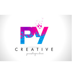 py p y letter logo with shattered broken blue vector image