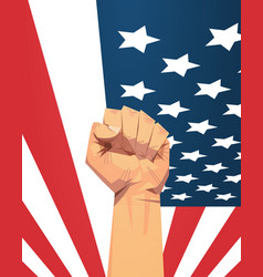 raised up fist over united states flag 4th july vector image
