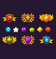 Receiving achievement awards shield and gems set vector