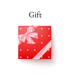 red gift box with pink silk bow in realistic vector image