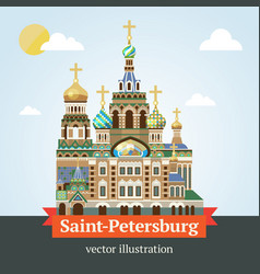 Saint petersburg savior on spilled blood vector