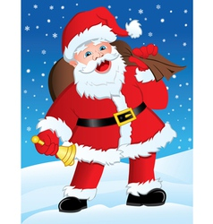 Santa with Gifts and Bell vector