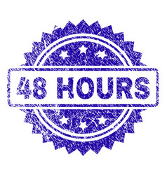 Scratched 48 hours stamp seal vector