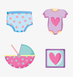 Set baby diapper with pijama and picture things vector