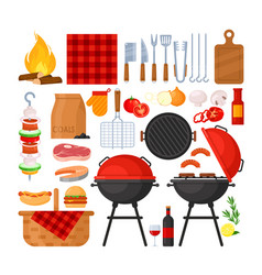 set bbq party barbecue grill picnic vector image