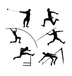 set group athletes men vector image
