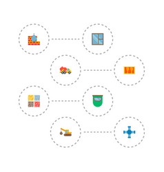 Set of construction icons flat style symbols with vector