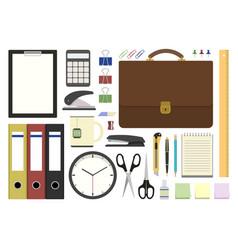 set office supplies in flat design vector image