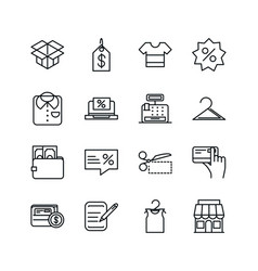 shopping commercial icons set line style vector image