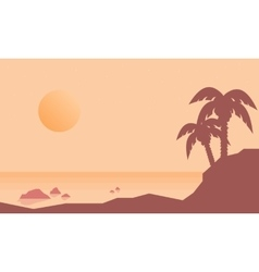 Silhouette of beach with palm landscape vector image
