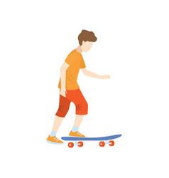 Skateboarder starts moving on skate isolated vector