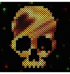 Skull gold Beads sequins Shiny vector