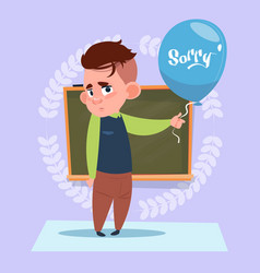 Small school boy sorry standing over class board vector