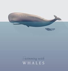 Sperm whale with scuba diver vector