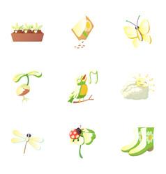 Springtime icons set cartoon style vector