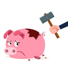 Stressed piggy bank vector